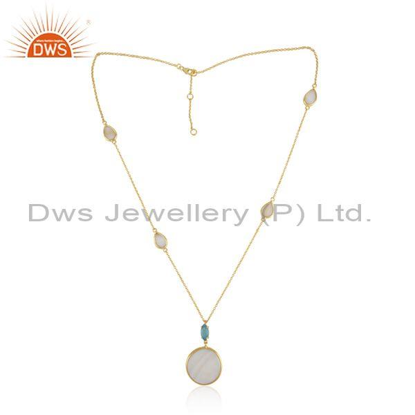 Gold on Silver Necklace with Mother of Pearl Blue Chalcedony