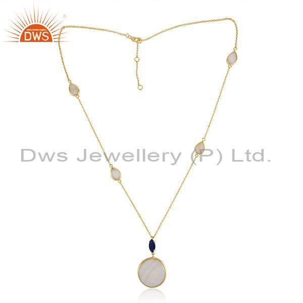 Gold on Silver Necklace with Mother of Pearl and Lapis