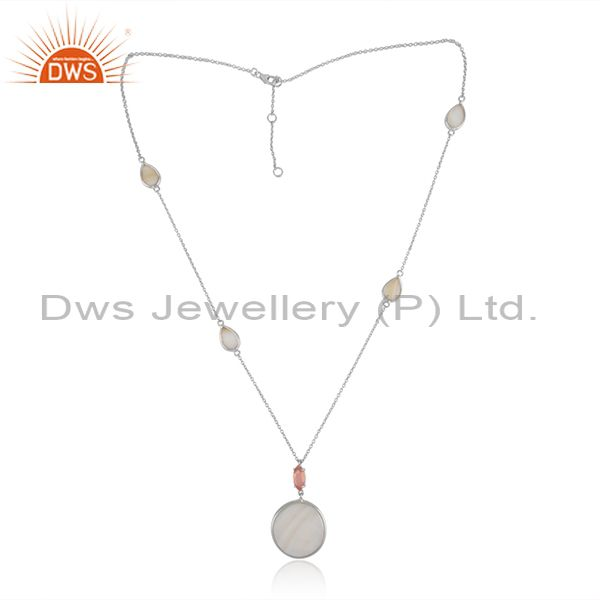 Sterling silver necklace with mother of pearl rose chalcedony