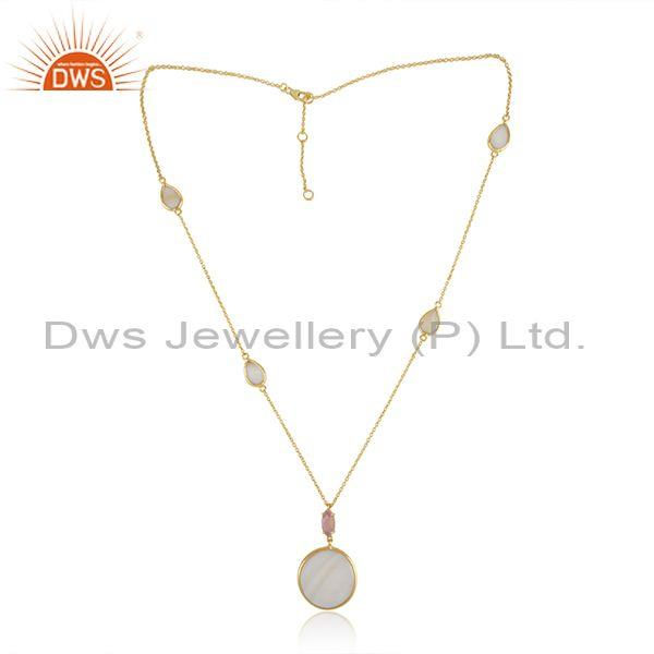 Gold on Silver Necklace with Mother of Pearl Rose Chalcedony