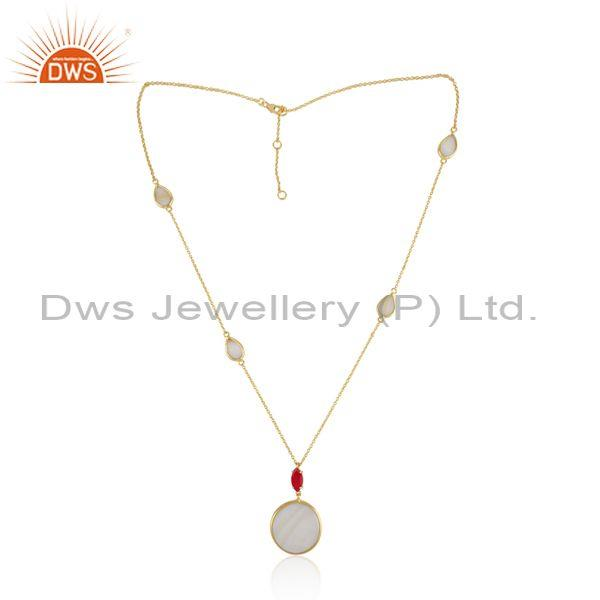 Gold on Silver Necklace with Mother of Pearl Pink Chalcedony
