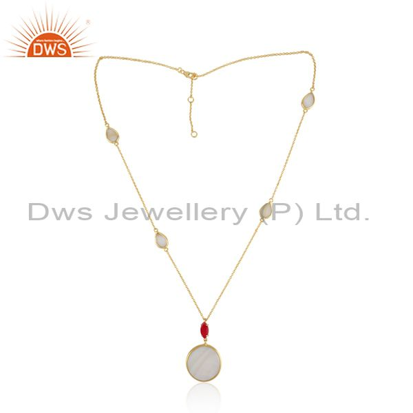 Gold over silver necklace with mother of pearl pink chalcedony
