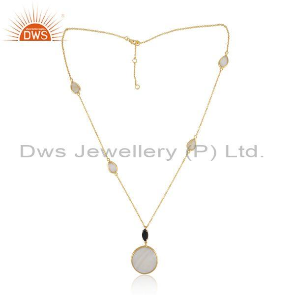 Gold on Silver Necklace with Mother of Pearl Green Onyx