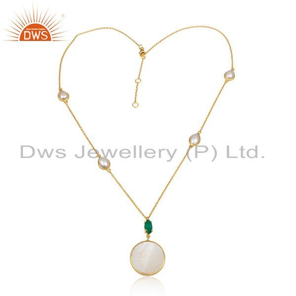 Handmade gold over silver 925 necklace with green onyx and pearl