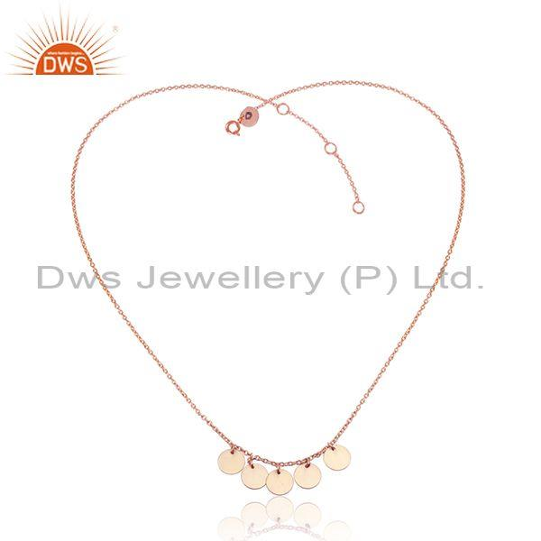 Coins design rose gold plated designer silver necklace jewelry