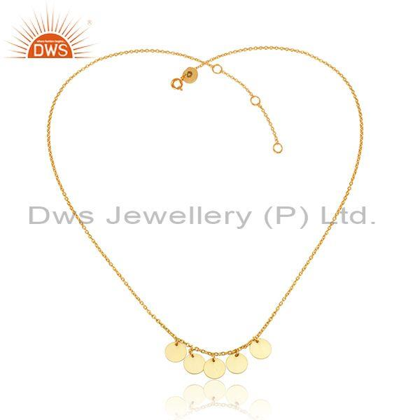 Coins Design 18k Yellow Gold Plated Designer Silver Necklace Jewelry