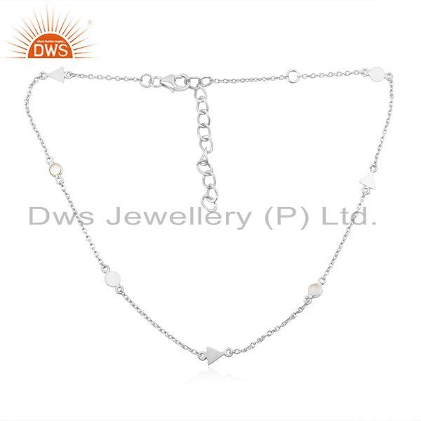 Zircon Gemstone Fine Sterling Silver Charm Chain Necklace Jewelry