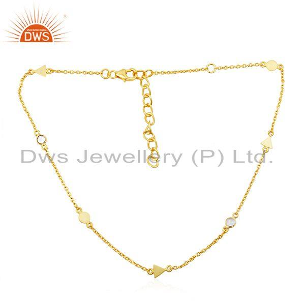 Zircon gemstone 18k gold plated 925 silver charm necklace jewelry