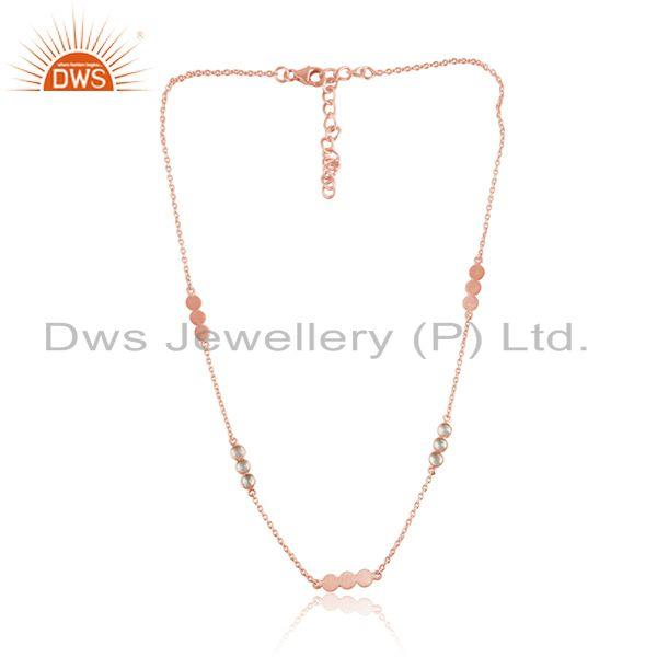 Handcrafted Designer Necklace in Rose Gold On Silver 925 with Cz