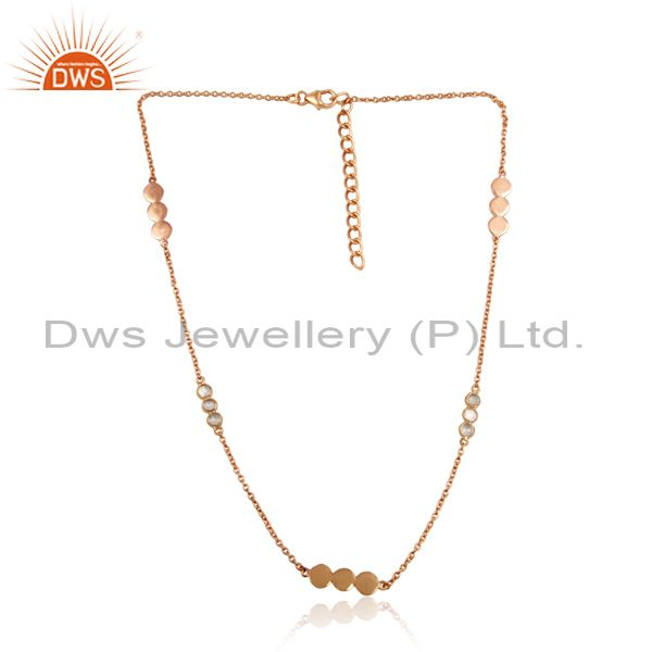 Handcrafted designer necklace in rose gold over silver 925 with cz