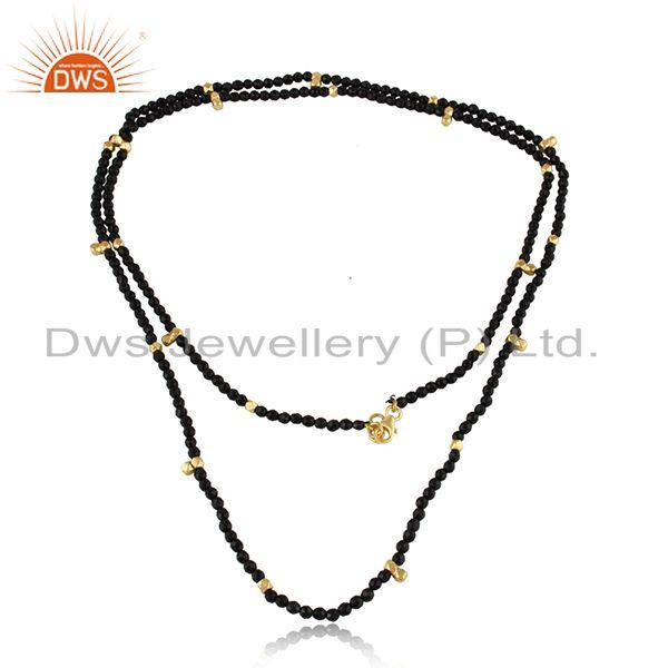 Natural black onyx beaded gemstone gold plated silver necklace
