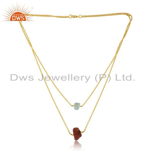 Sun Stone Aqua Chalcedony Womens Gold Plated Silver Necklace