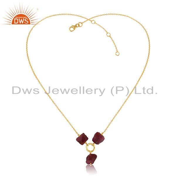 Natural Ruby Gemstone Designer Silver Gold Plated Chain Necklace