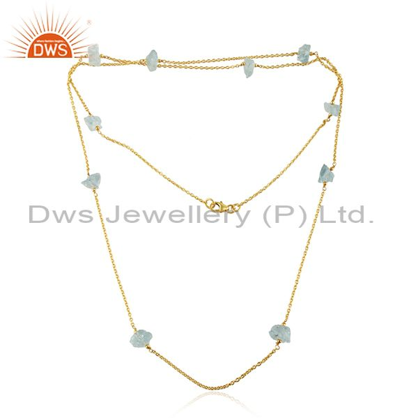 Aqua Chalcedony Gemstone Womens Gold Plated 925 Silver Necklace