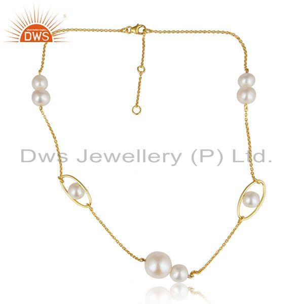 Designer Gold Plated Natural Pearl Gemstone Silver Chain Necklace