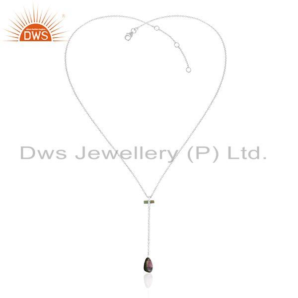 Longing tourmaline gemstone sterling fine silver chain necklace