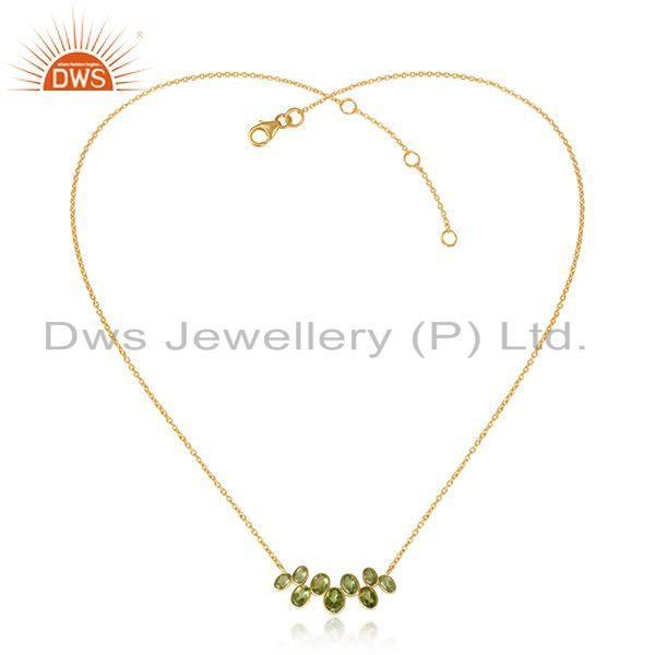 Peridot gemstone yellow gold plated 925 silver designer necklace