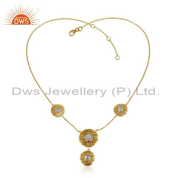Round Disc Gold Plated Silver Rainbow Moonstone Chain Necklace
