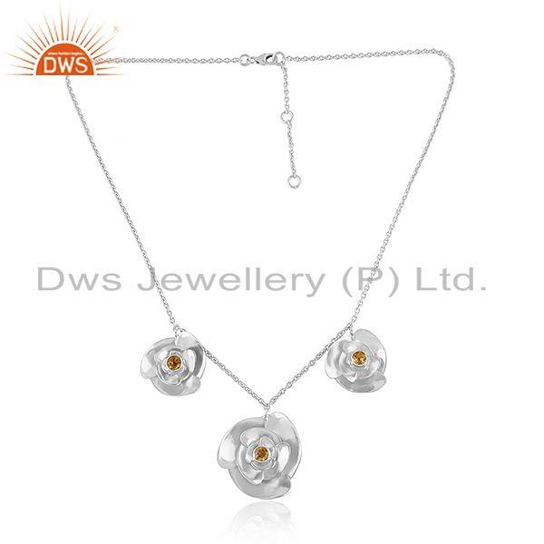 Rose Flower Sterling Fine Silver Citrine Gemstone Chain Necklace
