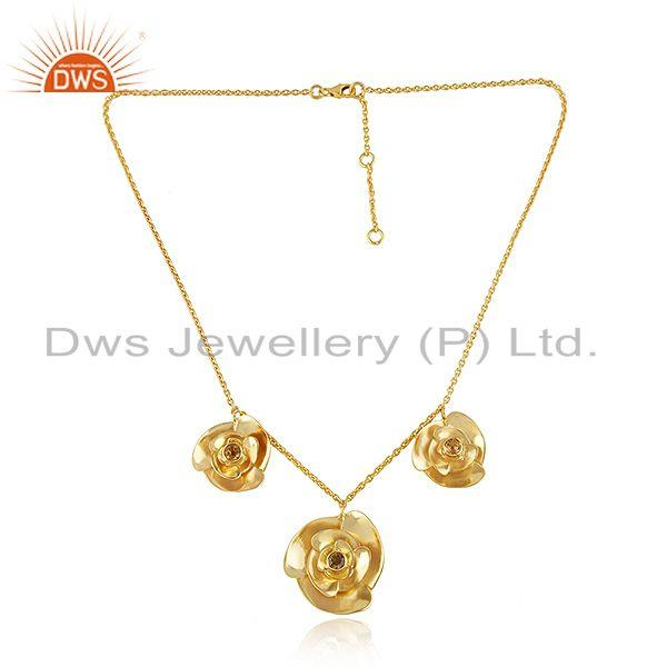 3 rose design gold plated silver citrine gemstone chain necklace