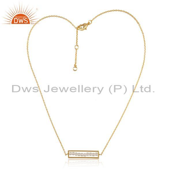 Pearl Beads Set Rectangular Pendant And Brass Gold Chain