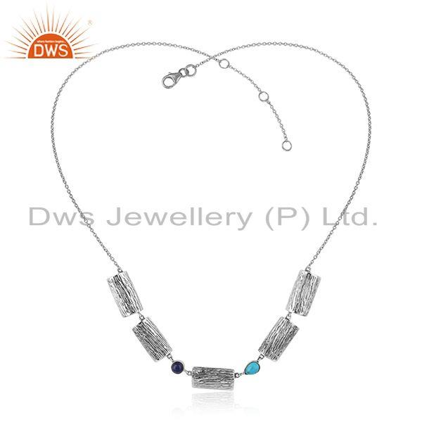 Vintage design oxidized 925 silver turquoise lapis gemstone necklace