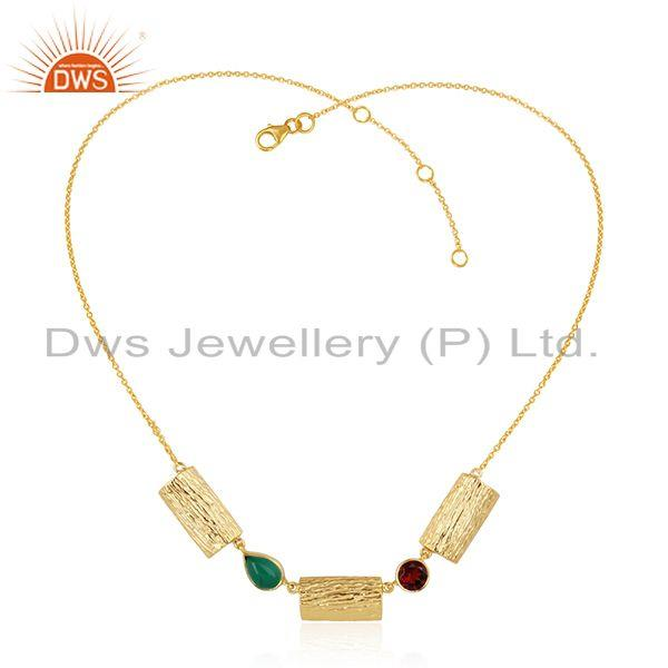 Garnet Green Onyx Gemstone Gold Plated Vintage Design Silver Necklace