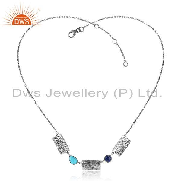 Natural Turquoise Gemstone Designer Oxidized 925 Silver Necklace