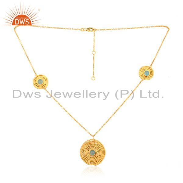 18k gold plated designer silver aqua chalcedony gemstone necklace