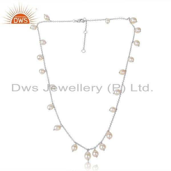 Natural Pearl Gemstone White Rhodium Plated Silver Chain Necklace