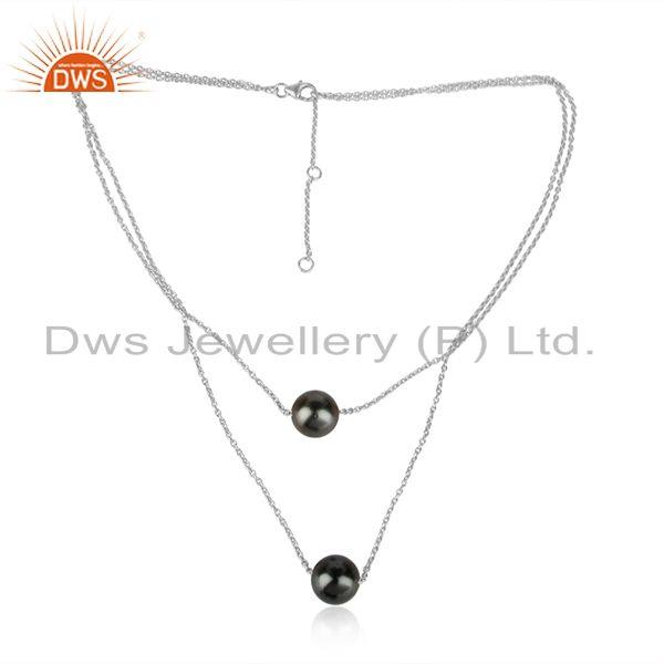 White rhodium plated silver gray pearl gemstone designer necklace