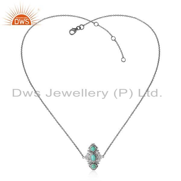 Designer boho necklace in oxidised silver with arizona turquoise