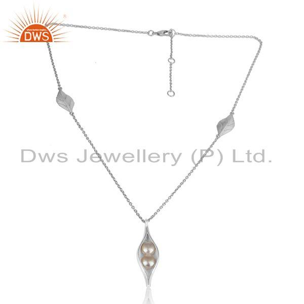 Designer seedpod necklace in solid silver 925 with natural pearl
