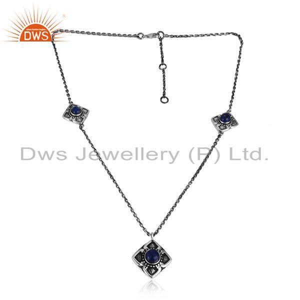 Handcrafted classic designer lapis necklace in oxidized silver