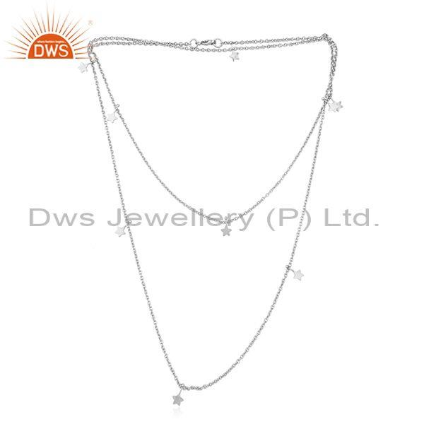 Designer Multi Star Charm Long Necklace in Silver 925