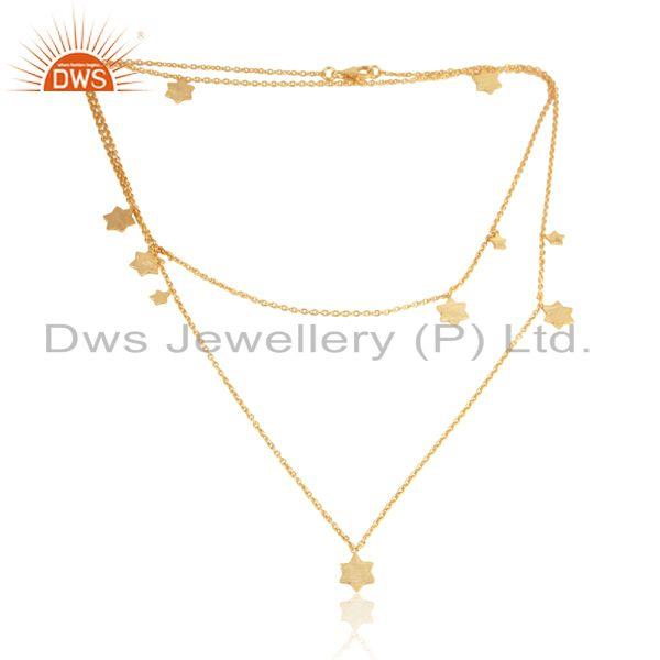 Handcrafted multi star long necklace in yellow gold on silver 925