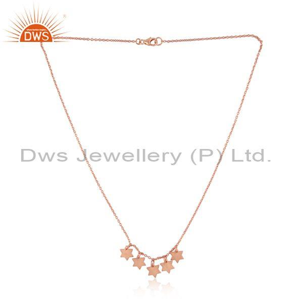 Designer Multi Star Charm Rose Gold on Silver 925 Necklace