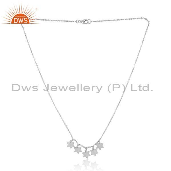 Designer Multi Star Charm Necklace in Sterling Silver
