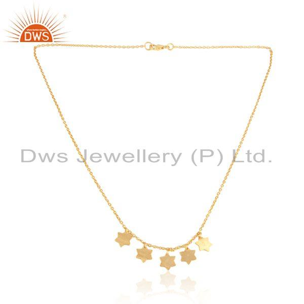 Designer multi star necklace in yellow gold on silver 925