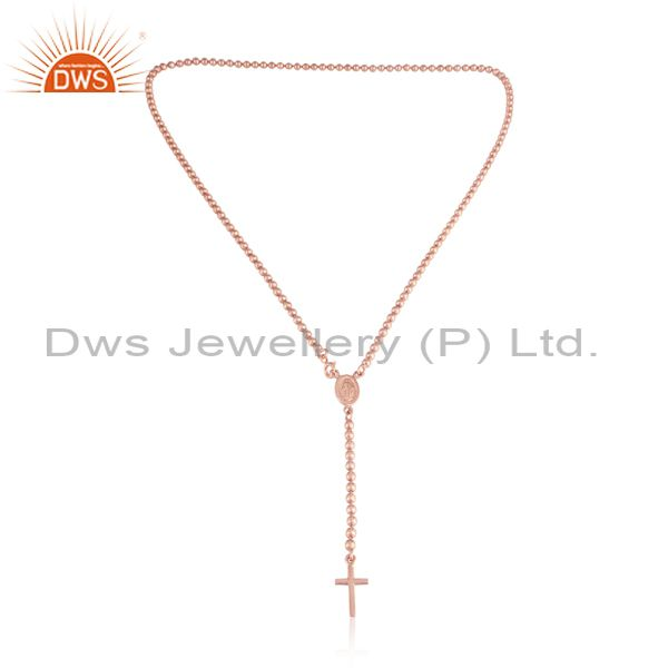 Beaded Designer Cross Charm Necklace in Rose Gold on Silver 925
