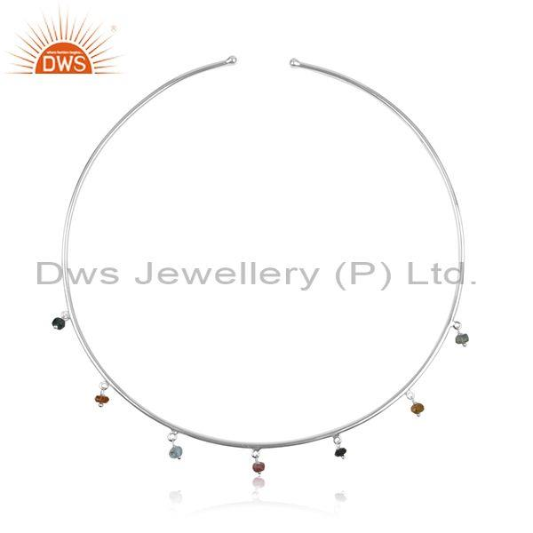 Multi Tourmaline Beads White Silver Choker And Necklace