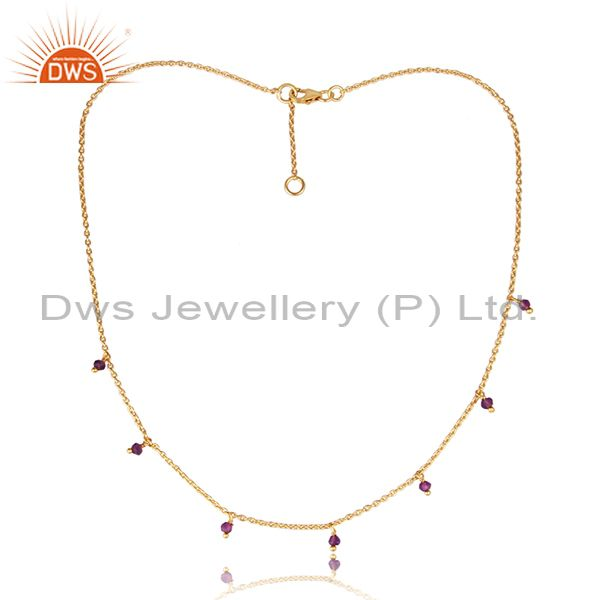 Amethyst Set Gold On Sterling Silver Necklace And Chain Set