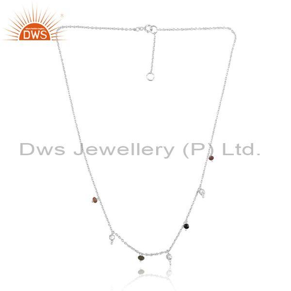 Multi Tourmaline Beads White Silver Long Chain Necklace