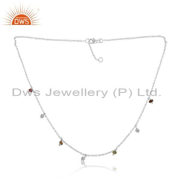 Multi Tourmaline Faceted Beads Silver Necklace For Women