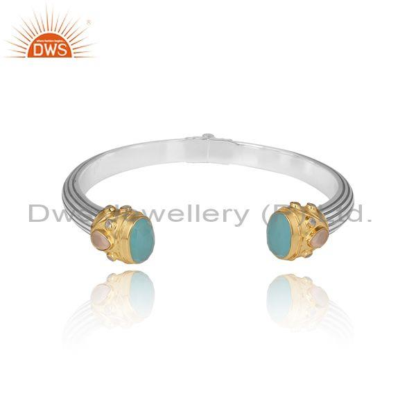 Moonstone Chalcedony Fine Sterling Silver Open Cuff Bangle
