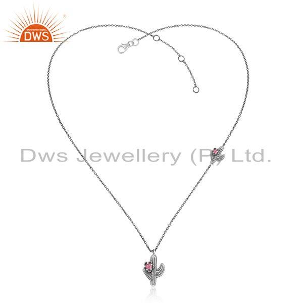 Cactus designer oxidized silver 925 necklace with pink tourmaline