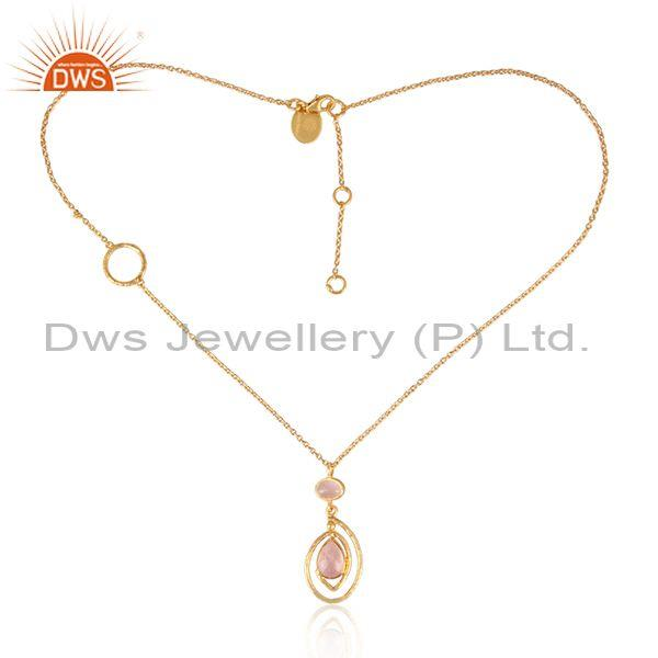 Rose quartz set pendant and gold on sterling silver chain