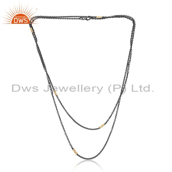 Designer Silver Fancy Chain in Gold and Black Rhodium on Silver