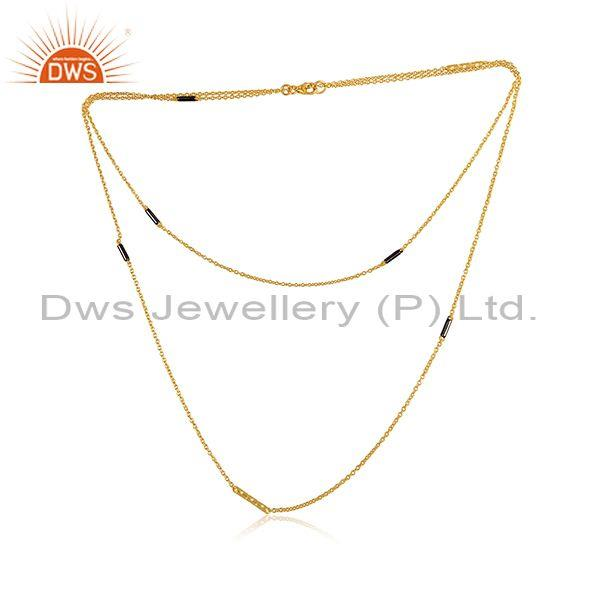 CZ Set Gold, Black On Silver Classic Double Chain Necklace