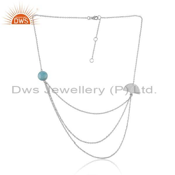 Moon Design Multilayered Silver 925 Larimar Necklace